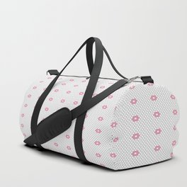 Pink Flower Hexagon Tile Pattern Duffle Bag