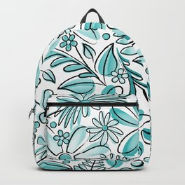 Turquoise Flower Garden - Hand Drawn Vector Florals Backpack