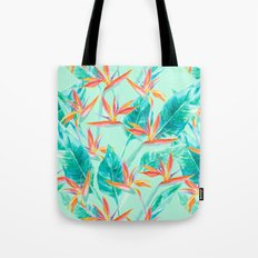 Birds Of Paradise Mint Tote Bag