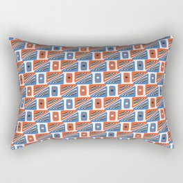 Geometric Squares Seamless Vector Pattern Orange and Blue Rectangular Pillow