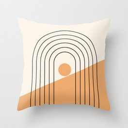 Geometric Lines in Gold and Black 8 (Rainbow Sun Mountain) Throw Pillow