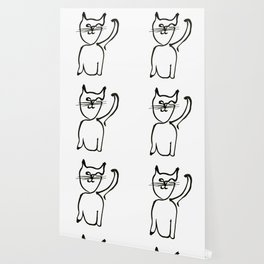 Inky Kitty Continuous Line Art Minimalist Cat Wallpaper