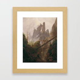 Caspar David Friedrich - Rocky Lanscape in the Elbe Sandstone Mountains Framed Art Print