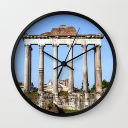 Temple of Saturn in the Roman Forum - Rome, Italy Wall Clock