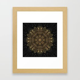 MANDALA IN BLACK AND GOLD Framed Art Print