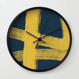 Abstract Minimalist Painted Brushstrokes in Light Mustard and Navy Blue 1 Wall Clock