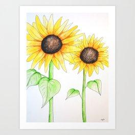 Sunflower Watercolor & ink Art Print