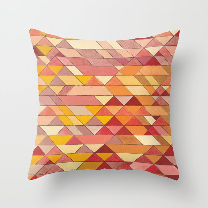 Triangle Pattern No4 Warm Colors Red And Yellow Throw Pillow By