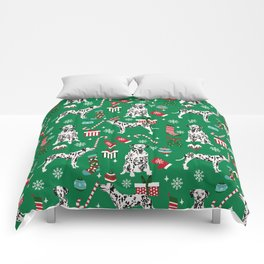 Dalmatian dog breed christmas holiday presents candy canes dalmatians dogs Comforters
