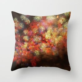 Magnificent Awesome Colorful Fireworks In The Sky HD Throw Pillow
