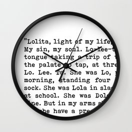 Light Of My Life, Love Declaration, Quote By Vladimir Nabokov, Lolita, Life Creativity And Motivate Wall Clock