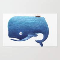 moby dick Area & Throw Rugs featuring Moby Dick by Arianna Usai