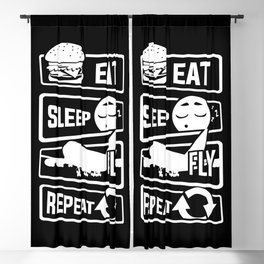 Eat Sleep Fly Repeat - Airplane Pilot Flight Blackout Curtain