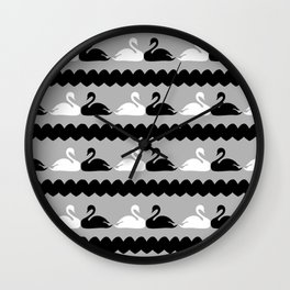 White and Black Swans with Hearts Wall Clock