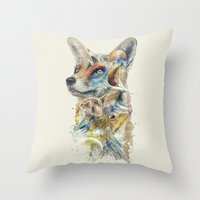 starfox Throw Pillows featuring Heroes of Lylat Starfox Inspired Classy Geek Painting by Barrett Biggers
