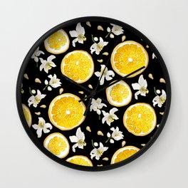 Orange Fruit Bloom Wall Clock