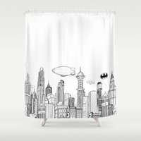 gotham Shower Curtains featuring Gotham City Skyline by CHAR ODEN