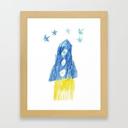 Rocket under stars Framed Art Print