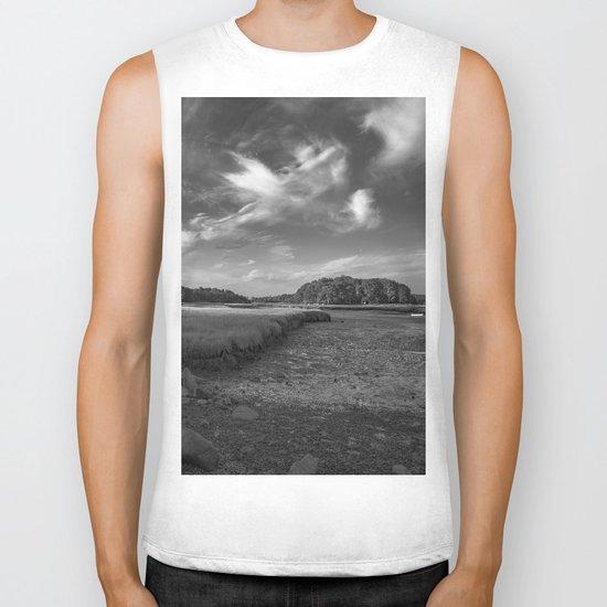 Sky and Marsh Black and white Biker Tank