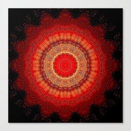 Vibrant Red Gold and black Mandala Canvas Print