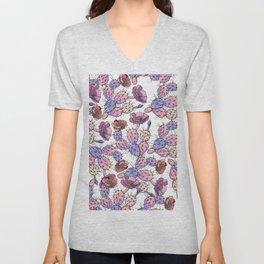 Modern vintage pink lavender watercolor cactus floral Unisex V-Neck