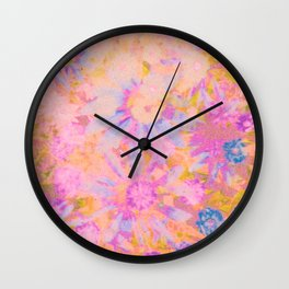 far out! pink floral tie dye Wall Clock