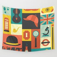 sherlock Wall Tapestries featuring Sherlock by Ariel Wilson