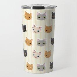 Cute Kitten & Stripes Pattern Travel Mug