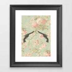 Guns & Flowers Framed Art Print