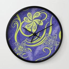 Polynesian Kiwi Lime Tropcal Floral Wall Clock