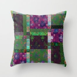 Lotus flower green and maroon stitched patchwork - woodblock print style pattern Throw Pillow