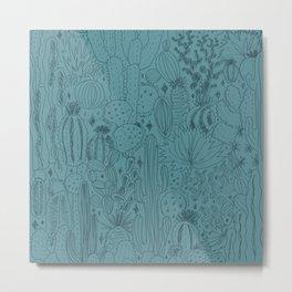 Cactus Scene in Blue Metal Print