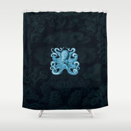 Octopus1 (Blue, Square) Shower Curtain