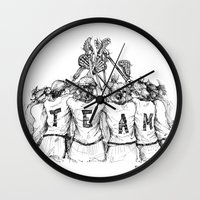 """lacrosse Wall Clocks featuring """"TEAM"""" (The Art of Lax™) by Vincent Ricasio"""