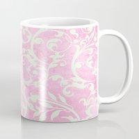 shabby chic Mugs featuring Shabby Chic pink damask by Miriam Hahn