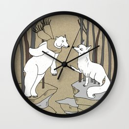 Arctic fox and Polar bear, Romeo and Juliet Wall Clock