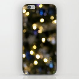 White Blue and Green Christmas Bokeh 2 iPhone Skin