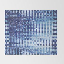 Nautical pixel abstract pattern Throw Blanket