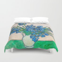 Irises by Vincent van Gogh Oil Painting Still Life Floral Arrangement In Vase Duvet Cover