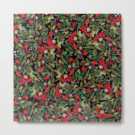 Christmas Floral Black Metal Print
