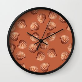 Orange big Clam pattern Illustration design Wall Clock