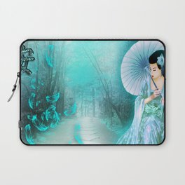 Geisha In Teal Laptop Sleeve