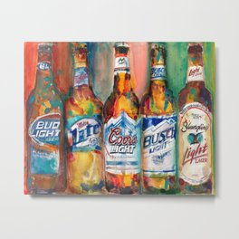 Bud light Miller Lite Coors Light Busch Light Yuengling Light Combo Beer Art Print Metal Print