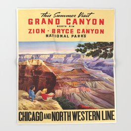 Vintage poster - Grand Canyon Throw Blanket
