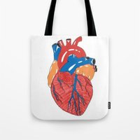 anatomical heart Tote Bags featuring Anatomical Heart by KA Doodle