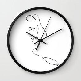 Mermaid Line Drawing No.1 Wall Clock