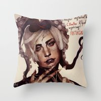 cthulhu Throw Pillows featuring CTHULHU by MYLÈNE BRAGINA