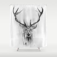 animals Shower Curtains featuring Red Deer by Alexis Marcou