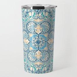 Gypsy Floral in Teal & Blue Travel Mug