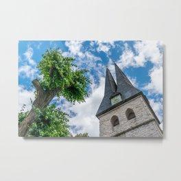 Tree & Bell Tower Metal Print